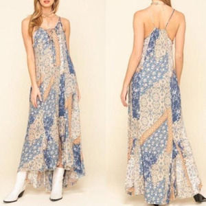 Free People Work of Art Printed Maxi Dress BOHO Floral Patchwork XS
